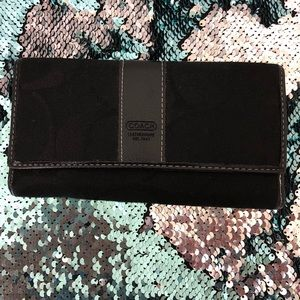 Coach large pre-owned leather and canvas wallet